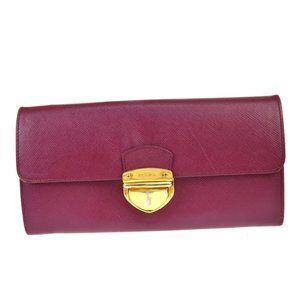 PRADA Saffiano Zipper Long Bifold Wallet Purse Leather Purple Gold Italy 08AC363